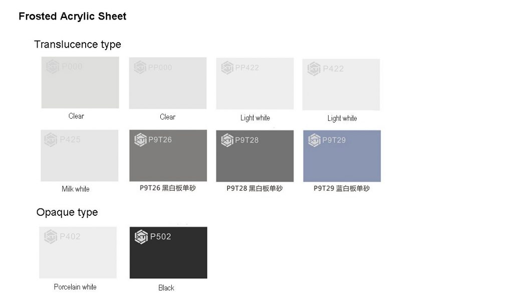 Frosted PMMA sheet