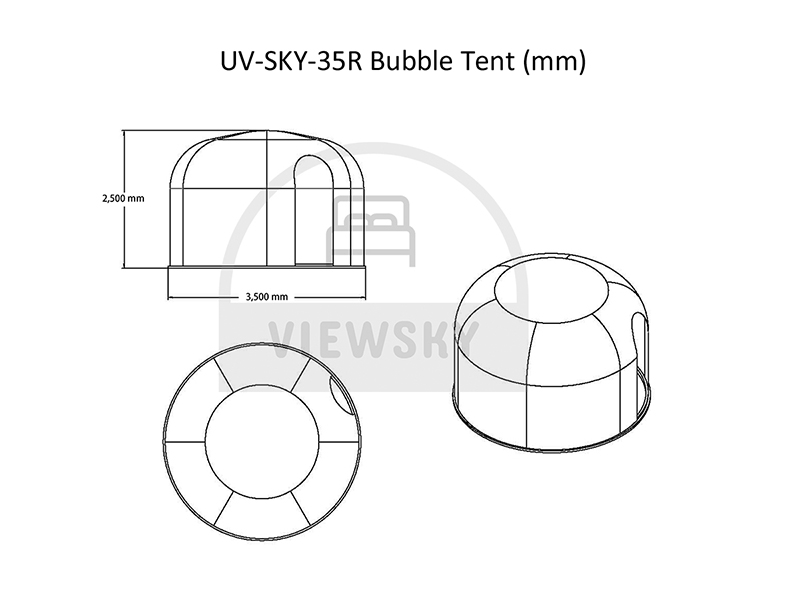 Drawings of 3.5 Meter Bubble Tent